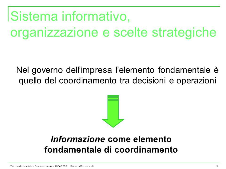 Tecnica Industriale e Commerciale-a.a.2004/2005 Roberta Bocconcelli5 Sistema informativo, organizzazione e scelte strategiche Nel governo dell'impresa l'elemento fondamentale è quello del coordinamento tra decisioni e operazioni Informazione come elemento fondamentale di coordinamento