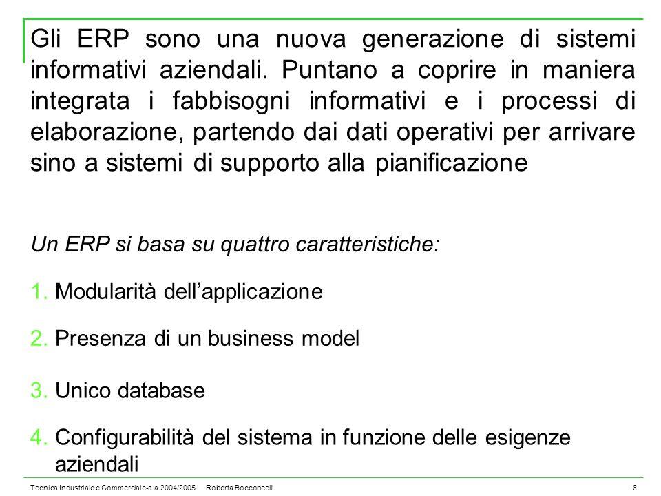 Tecnica Industriale e Commerciale-a.a.2004/2005 Roberta Bocconcelli8 Gli ERP sono una nuova generazione di sistemi informativi aziendali.