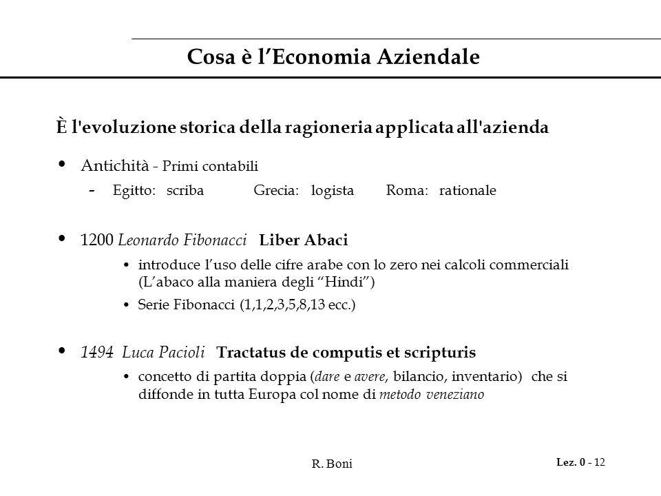 R. Boni Lez. 0 - 12 Cosa è l'Economia Aziendale È l'evoluzione storica della ragioneria applicata all'azienda Antichità - Primi contabili - Egitto: sc
