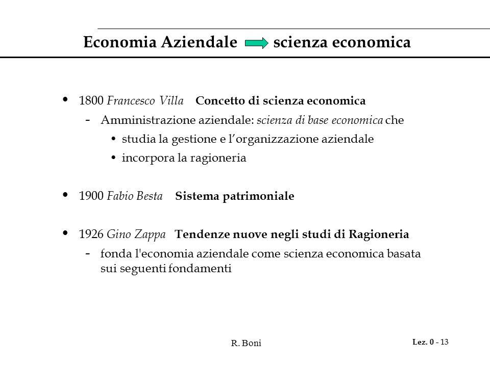 R. Boni Lez. 0 - 13 Economia Aziendale scienza economica 1800 Francesco Villa Concetto di scienza economica - Amministrazione aziendale: scienza di ba