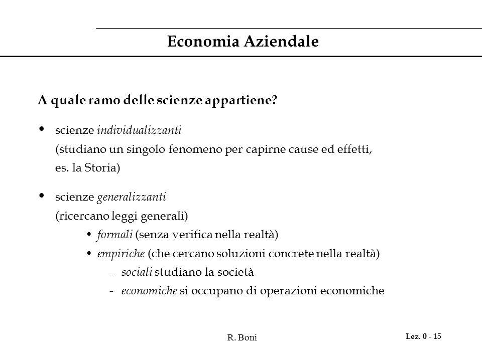 R. Boni Lez. 0 - 15 Economia Aziendale A quale ramo delle scienze appartiene? scienze individualizzanti (studiano un singolo fenomeno per capirne caus