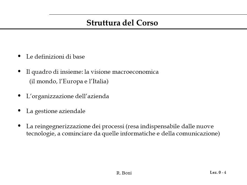 R. Boni Lez. 0 - 4 Struttura del Corso Le definizioni di base Il quadro di insieme: la visione macroeconomica (il mondo, l'Europa e l'Italia) L'organi