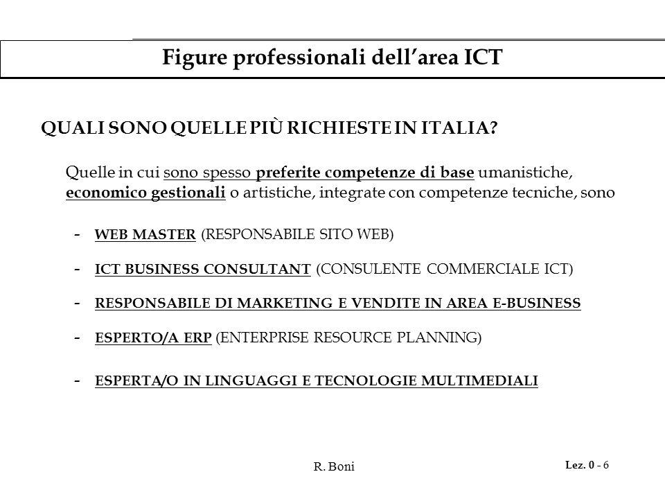 R. Boni Lez. 0 - 6 Figure professionali dell'area ICT QUALI SONO QUELLE PIÙ RICHIESTE IN ITALIA? Quelle in cui sono spesso preferite competenze di bas