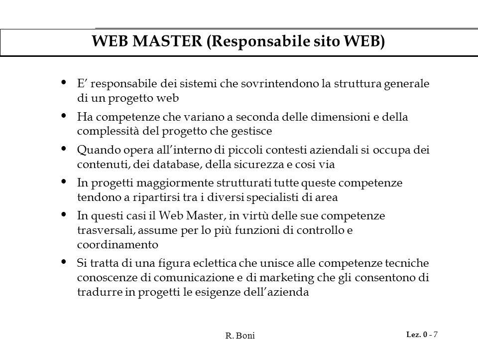 R. Boni Lez. 0 - 7 WEB MASTER (Responsabile sito WEB) E' responsabile dei sistemi che sovrintendono la struttura generale di un progetto web Ha compet