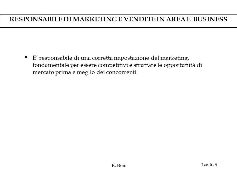 R. Boni Lez. 0 - 9 RESPONSABILE DI MARKETING E VENDITE IN AREA E-BUSINESS E' responsabile di una corretta impostazione del marketing, fondamentale per