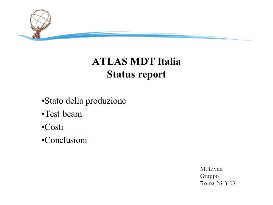 ATLAS MDT Italia Status report Stato della produzione Test beam Costi Conclusioni M.