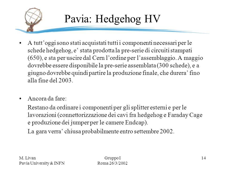 M. Livan Pavia University & INFN Gruppo I Roma 26/3/2002 14 Pavia: Hedgehog HV A tutt'oggi sono stati acquistati tutti i componenti necessari per le s