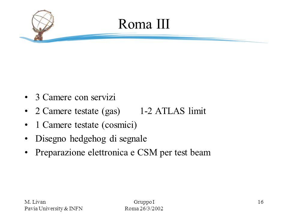 M. Livan Pavia University & INFN Gruppo I Roma 26/3/2002 16 Roma III 3 Camere con servizi 2 Camere testate (gas)1-2 ATLAS limit 1 Camere testate (cosm