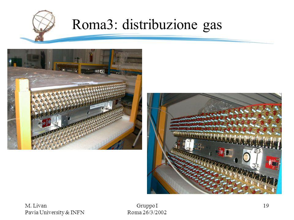 M. Livan Pavia University & INFN Gruppo I Roma 26/3/2002 19 Roma3: distribuzione gas
