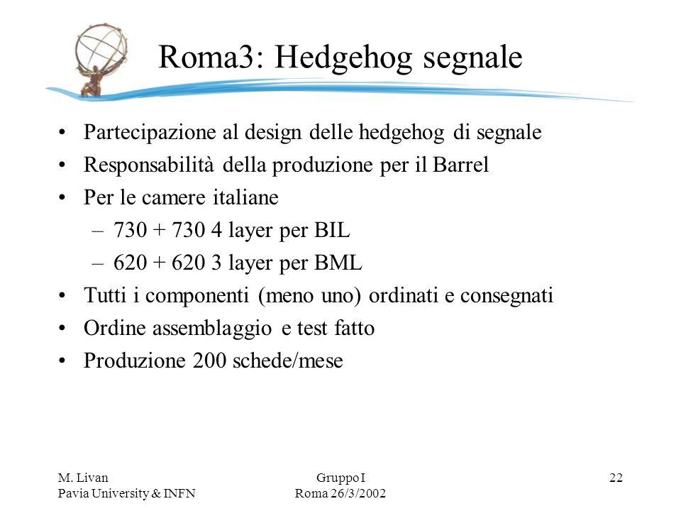 M. Livan Pavia University & INFN Gruppo I Roma 26/3/2002 22 Roma3: Hedgehog segnale Partecipazione al design delle hedgehog di segnale Responsabilità