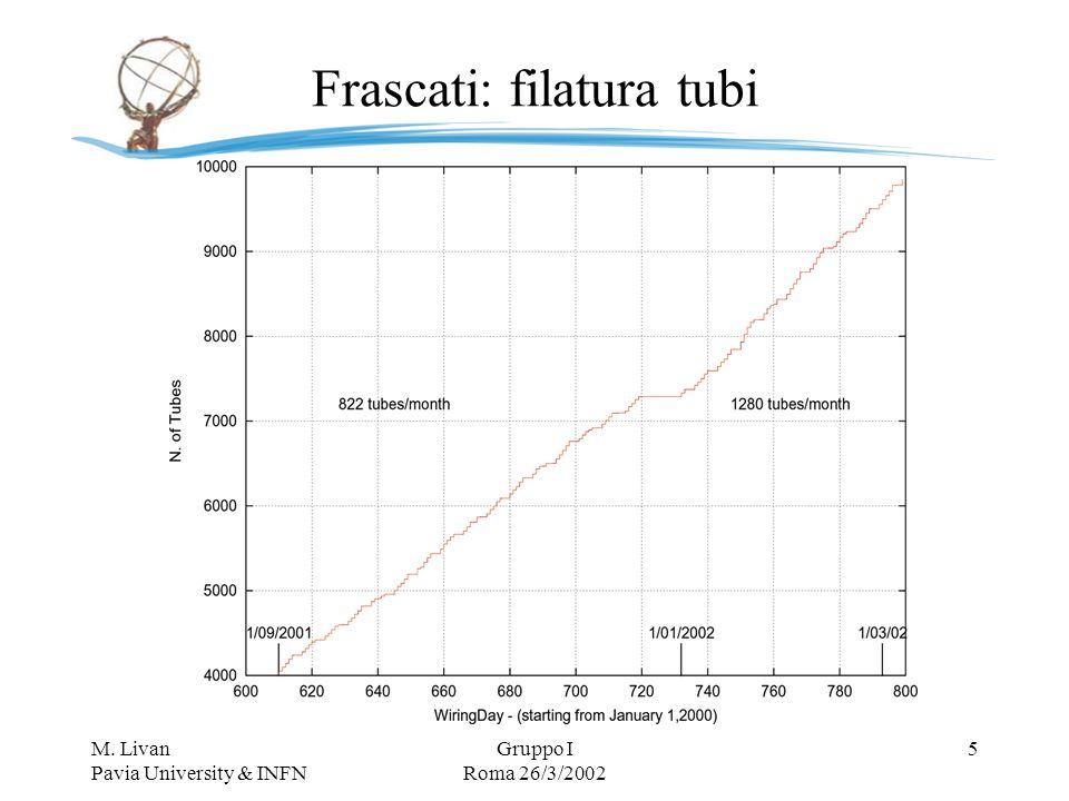 M. Livan Pavia University & INFN Gruppo I Roma 26/3/2002 6 Frascati: QA/QC tubi