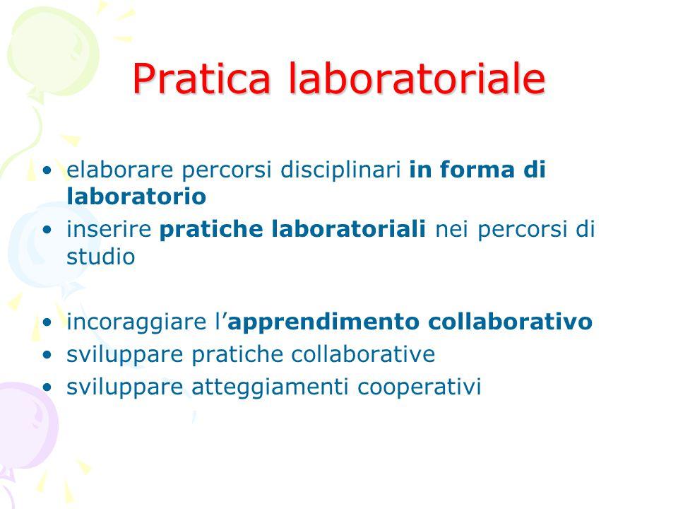 Pratica laboratoriale elaborare percorsi disciplinari in forma di laboratorio inserire pratiche laboratoriali nei percorsi di studio incoraggiare l'apprendimento collaborativo sviluppare pratiche collaborative sviluppare atteggiamenti cooperativi