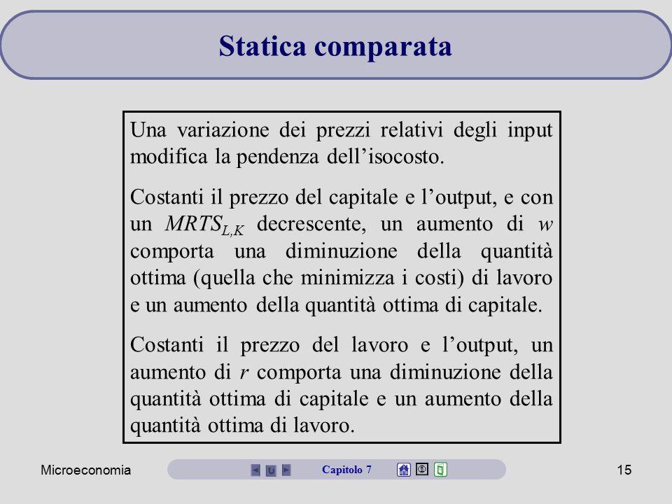 Microeconomia15 Una variazione dei prezzi relativi degli input modifica la pendenza dell'isocosto. Costanti il prezzo del capitale e l'output, e con u