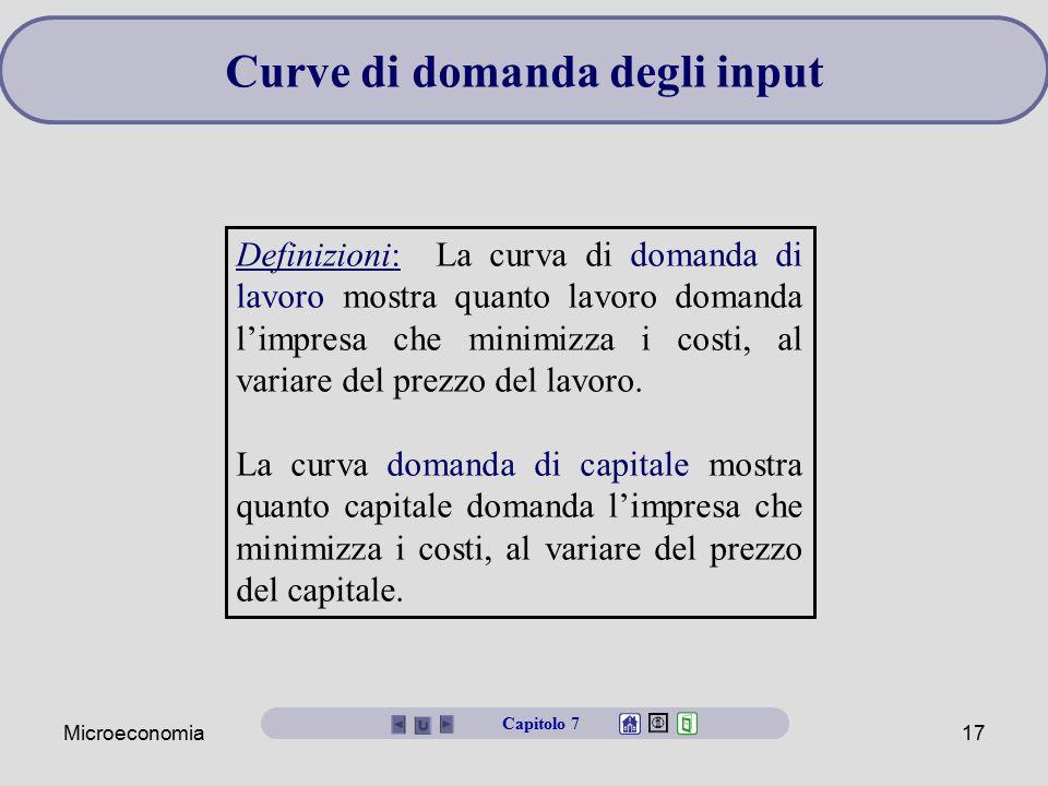 Microeconomia17 Curve di domanda degli input Definizioni: La curva di domanda di lavoro mostra quanto lavoro domanda l'impresa che minimizza i costi,