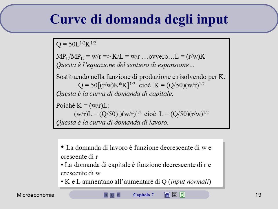Microeconomia19 La domanda di lavoro è funzione decrescente di w e crescente di r La domanda di capitale è funzione decrescente di r e crescente di w