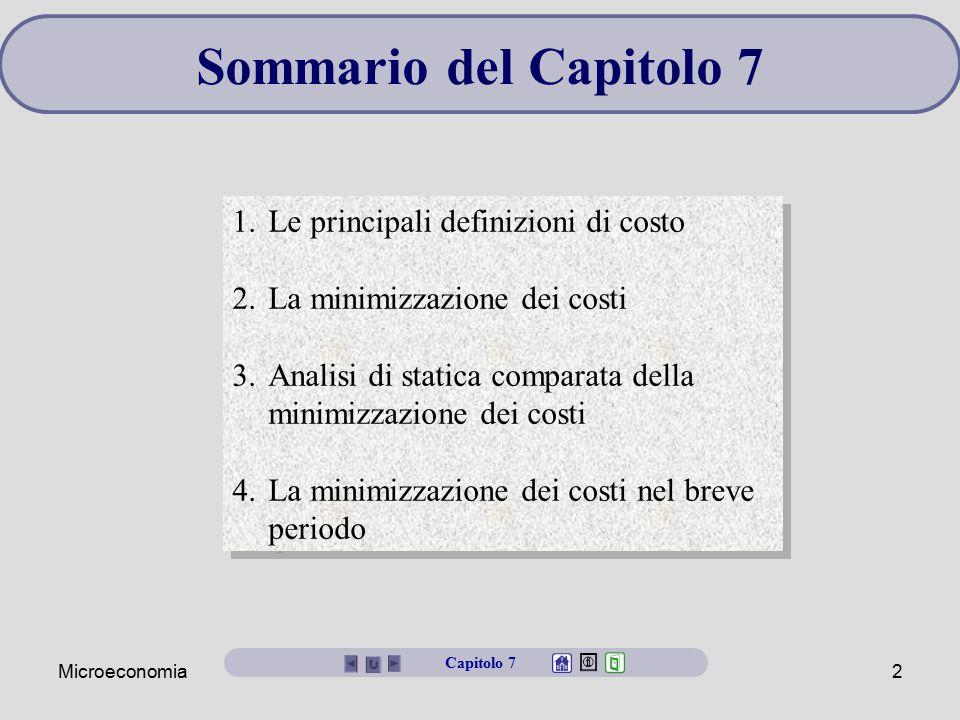 Microeconomia2 Sommario del Capitolo 7 1.Le principali definizioni di costo 2.La minimizzazione dei costi 3.Analisi di statica comparata della minimiz