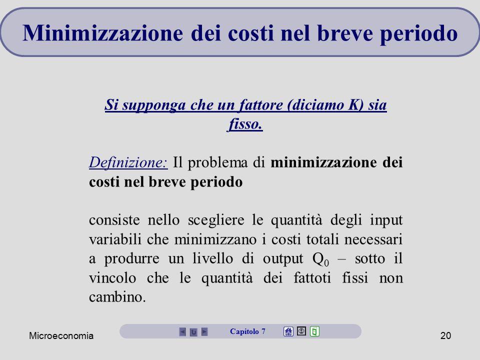 Microeconomia20 Minimizzazione dei costi nel breve periodo Si supponga che un fattore (diciamo K) sia fisso. Definizione: Il problema di minimizzazion