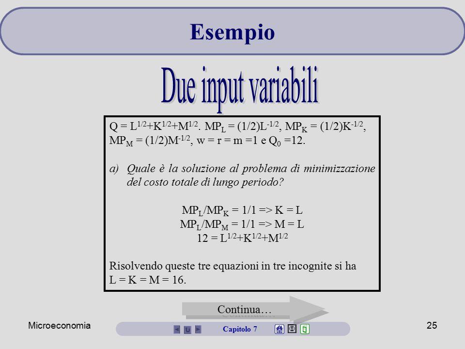 Microeconomia25 Q = L 1/2 +K 1/2 +M 1/2. MP L = (1/2)L -1/2, MP K = (1/2)K -1/2, MP M = (1/2)M -1/2, w = r = m =1 e Q 0 =12. a)Quale è la soluzione al
