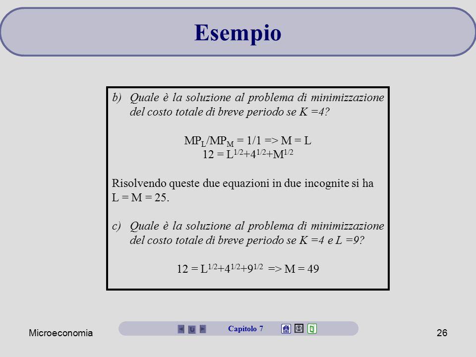 Microeconomia26 b)Quale è la soluzione al problema di minimizzazione del costo totale di breve periodo se K =4? MP L /MP M = 1/1 => M = L 12 = L 1/2 +