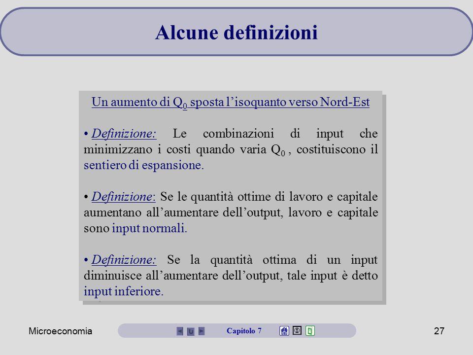 Microeconomia27 Un aumento di Q 0 sposta l'isoquanto verso Nord-Est Definizione: Le combinazioni di input che minimizzano i costi quando varia Q 0, co