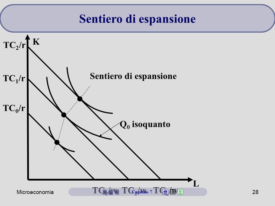 Microeconomia28 L K TC 0 /w TC 1 /w TC 2 /w TC 2 /r TC 1 /r TC 0 /r Q 0 isoquanto Sentiero di espansione Capitolo 7