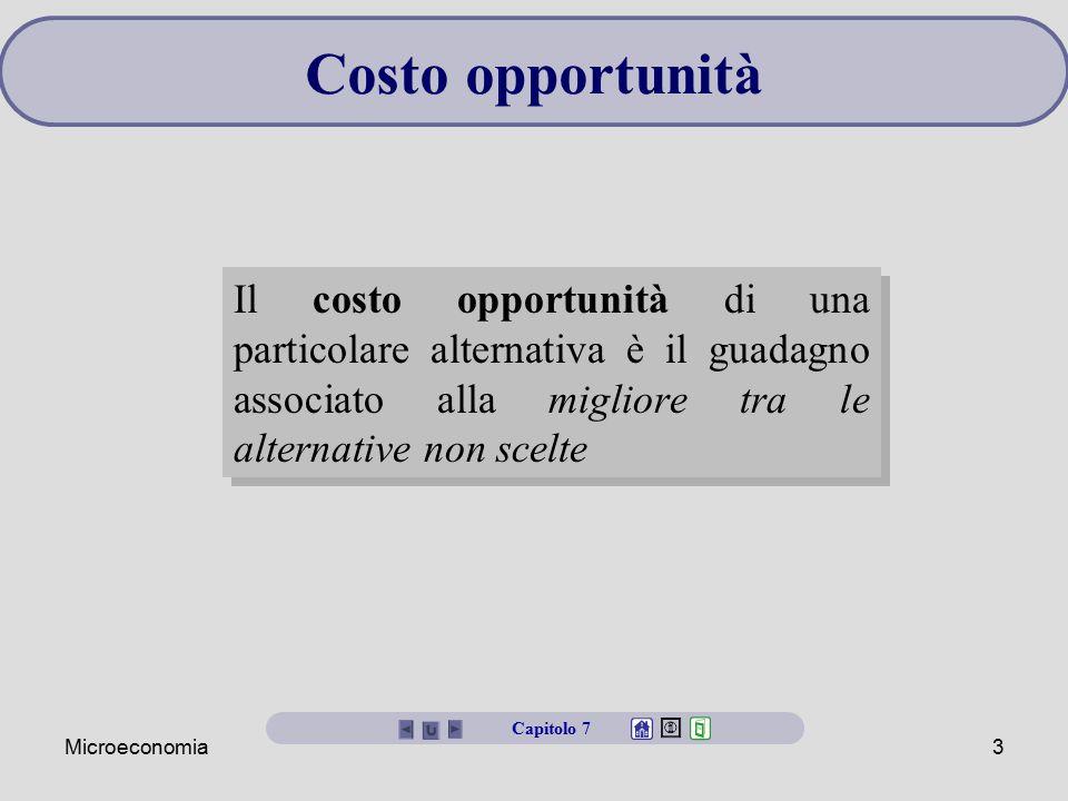 Microeconomia3 Il costo opportunità di una particolare alternativa è il guadagno associato alla migliore tra le alternative non scelte Costo opportuni
