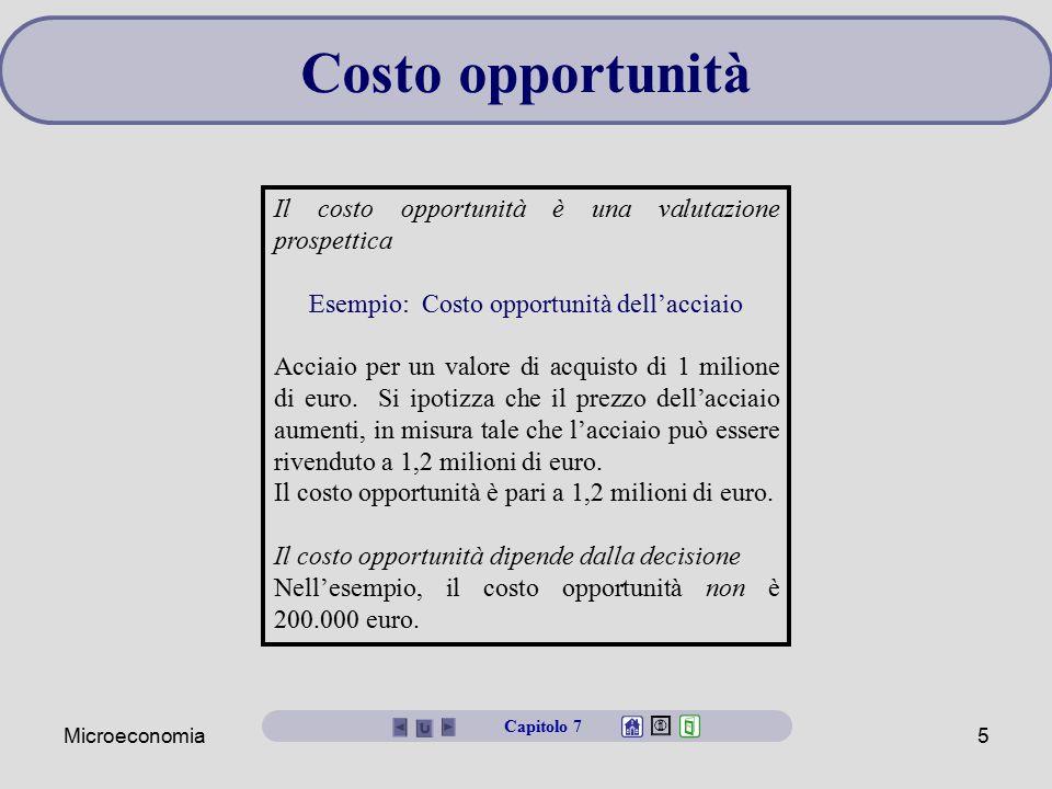 Microeconomia5 Il costo opportunità è una valutazione prospettica Esempio: Costo opportunità dell'acciaio Acciaio per un valore di acquisto di 1 milio