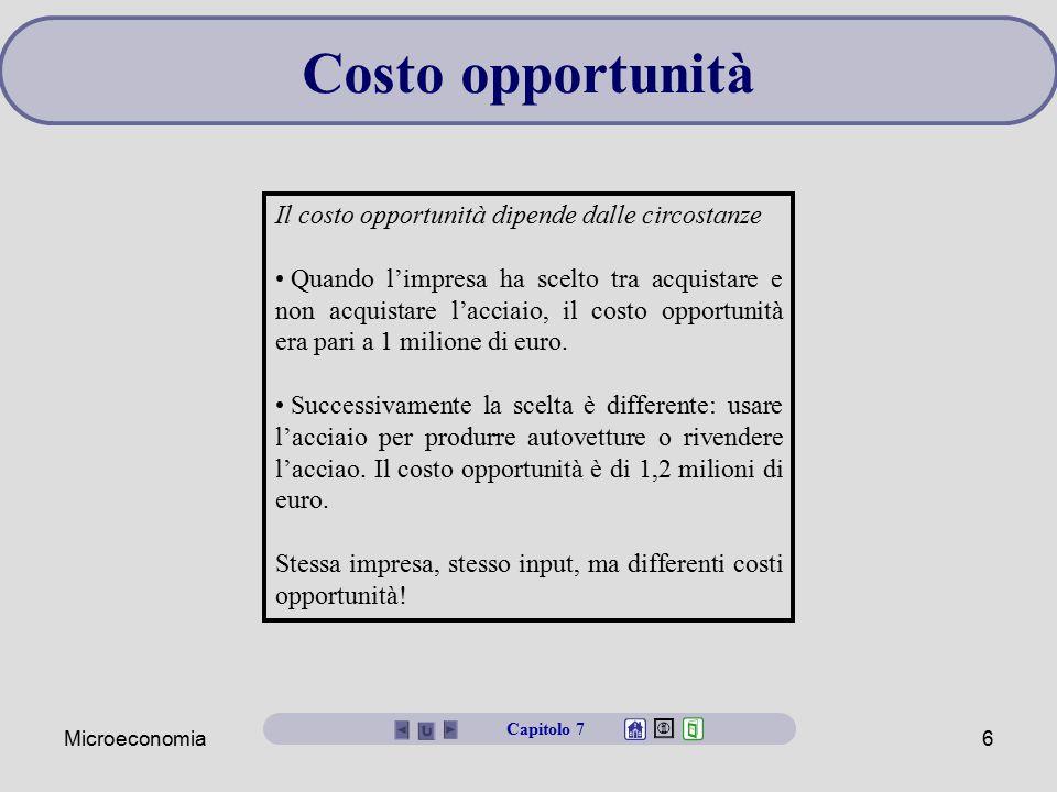 Microeconomia6 Costo opportunità Capitolo 7 Il costo opportunità dipende dalle circostanze Quando l'impresa ha scelto tra acquistare e non acquistare
