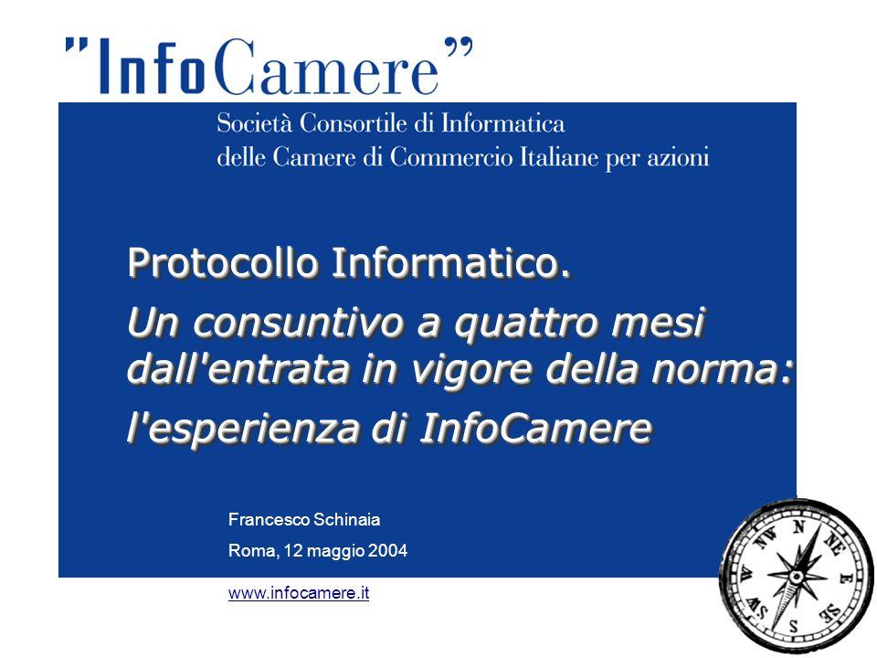 Francesco Schinaia Roma, 12 maggio 2004 Protocollo Informatico. Un consuntivo a quattro mesi dall'entrata in vigore della norma: l'esperienza di InfoC