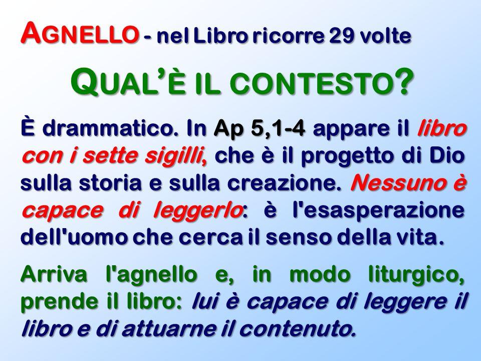 A GNELLO - nel Libro ricorre 29 volte Q UAL ' È IL CONTESTO ? È drammatico. In Ap 5,1-4 appare il libro con i sette sigilli, che è il progetto di Dio