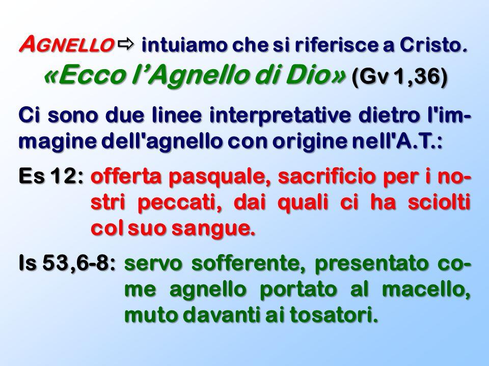 A GNELLO  intuiamo che si riferisce a Cristo. «Ecco l'Agnello di Dio» (Gv 1,36) Ci sono due linee interpretative dietro l'im- magine dell'agnello con