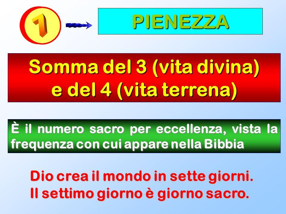 PIENEZZA Somma del 3 (vita divina) e del 4 (vita terrena) È il numero sacro per eccellenza, vista la frequenza con cui appare nella Bibbia Dio crea il