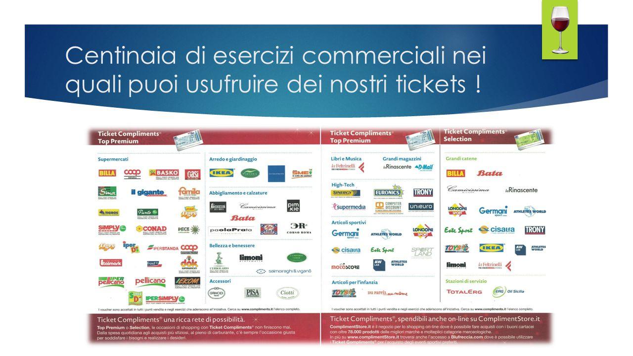 Centinaia di esercizi commerciali nei quali puoi usufruire dei nostri tickets !