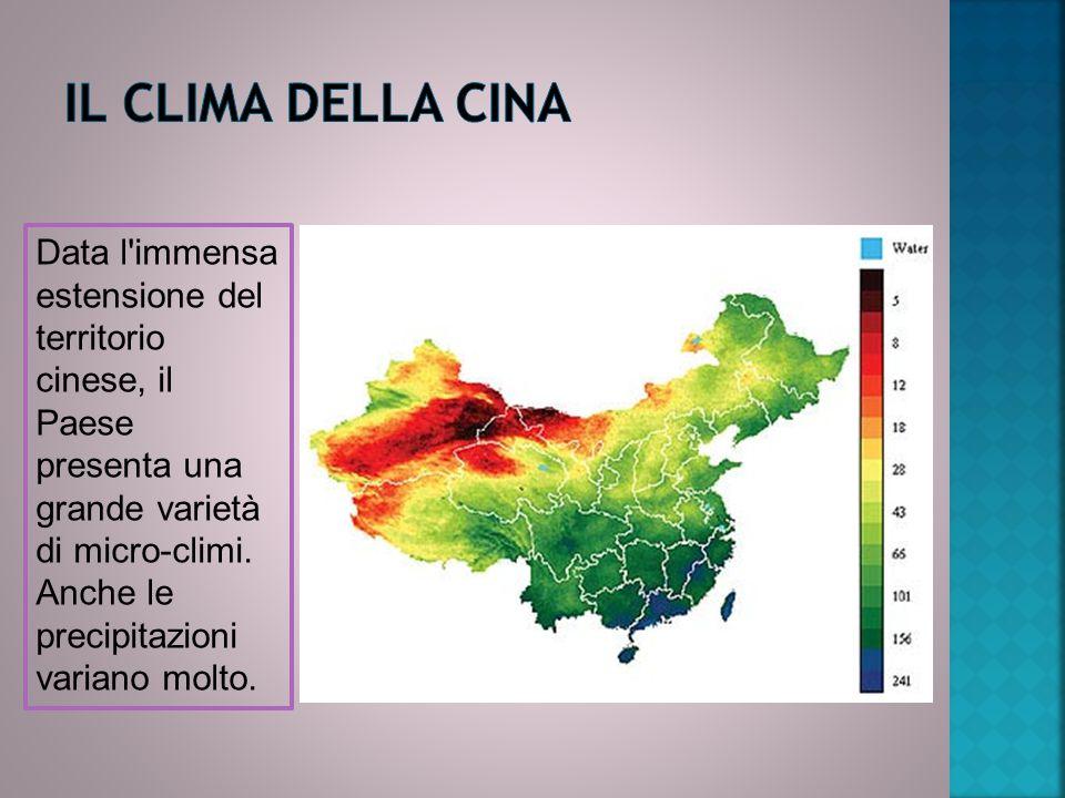 Data l'immensa estensione del territorio cinese, il Paese presenta una grande varietà di micro-climi. Anche le precipitazioni variano molto.