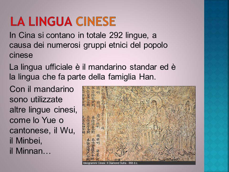 In Cina si contano in totale 292 lingue, a causa dei numerosi gruppi etnici del popolo cinese La lingua ufficiale è il mandarino standar ed è la lingua che fa parte della famiglia Han.