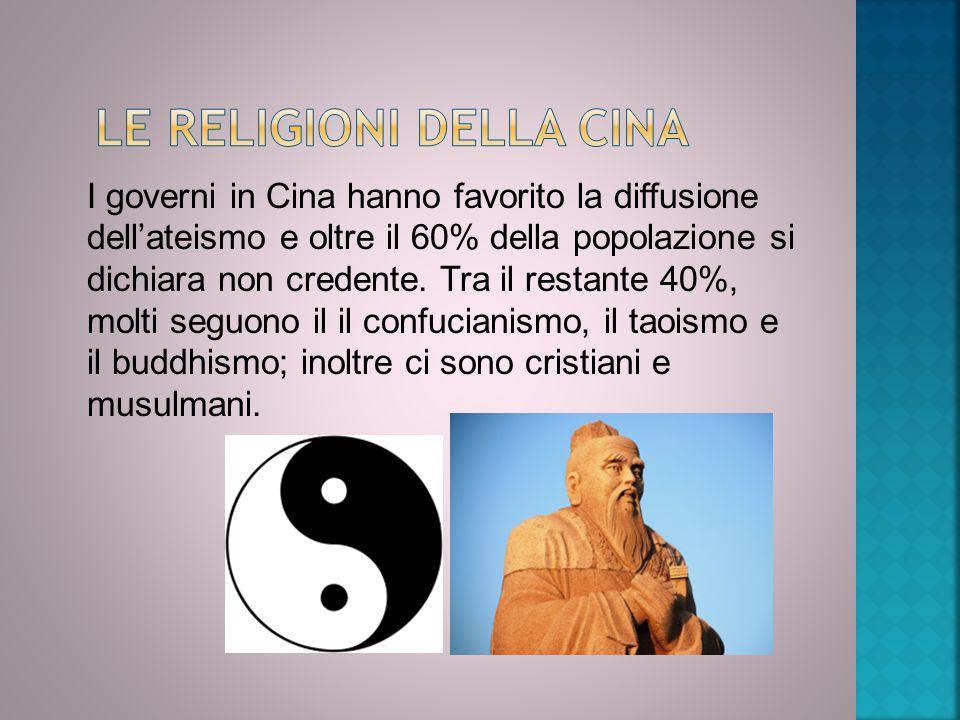 I governi in Cina hanno favorito la diffusione dell'ateismo e oltre il 60% della popolazione si dichiara non credente. Tra il restante 40%, molti segu