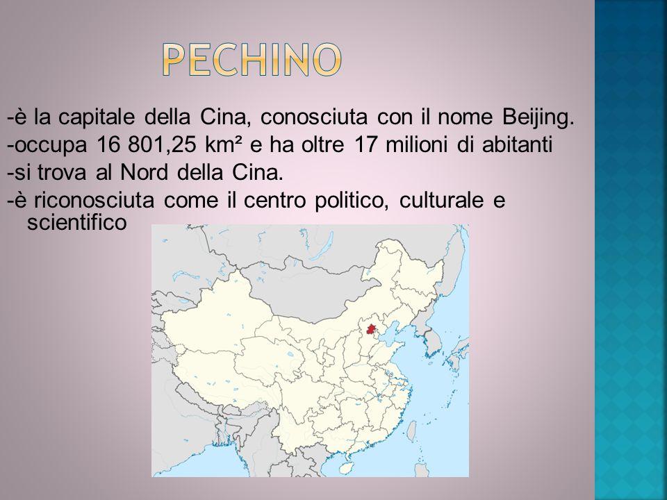 -è la capitale della Cina, conosciuta con il nome Beijing. -occupa 16 801,25 km² e ha oltre 17 milioni di abitanti -si trova al Nord della Cina. -è ri