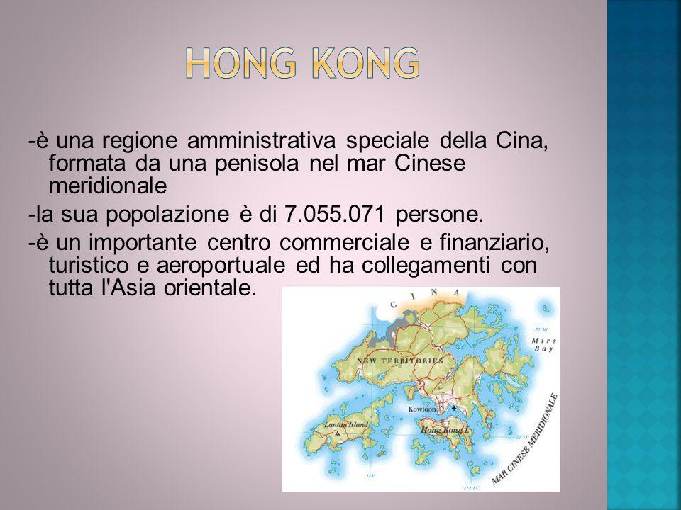 -è una regione amministrativa speciale della Cina, formata da una penisola nel mar Cinese meridionale -la sua popolazione è di 7.055.071 persone. -è u