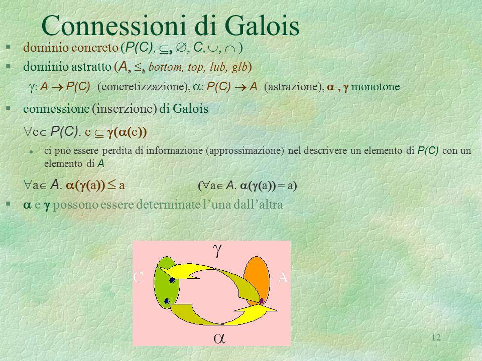 12 Connessioni di Galois   dominio concreto ( P(C), , C, ,  ),   dominio astratto ( A,  bottom, top, lub, glb )  : A   P(C) (concre