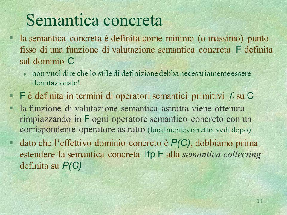 14 Semantica concreta  la semantica concreta è definita come minimo (o massimo) punto fisso di una funzione di valutazione semantica concreta F defin