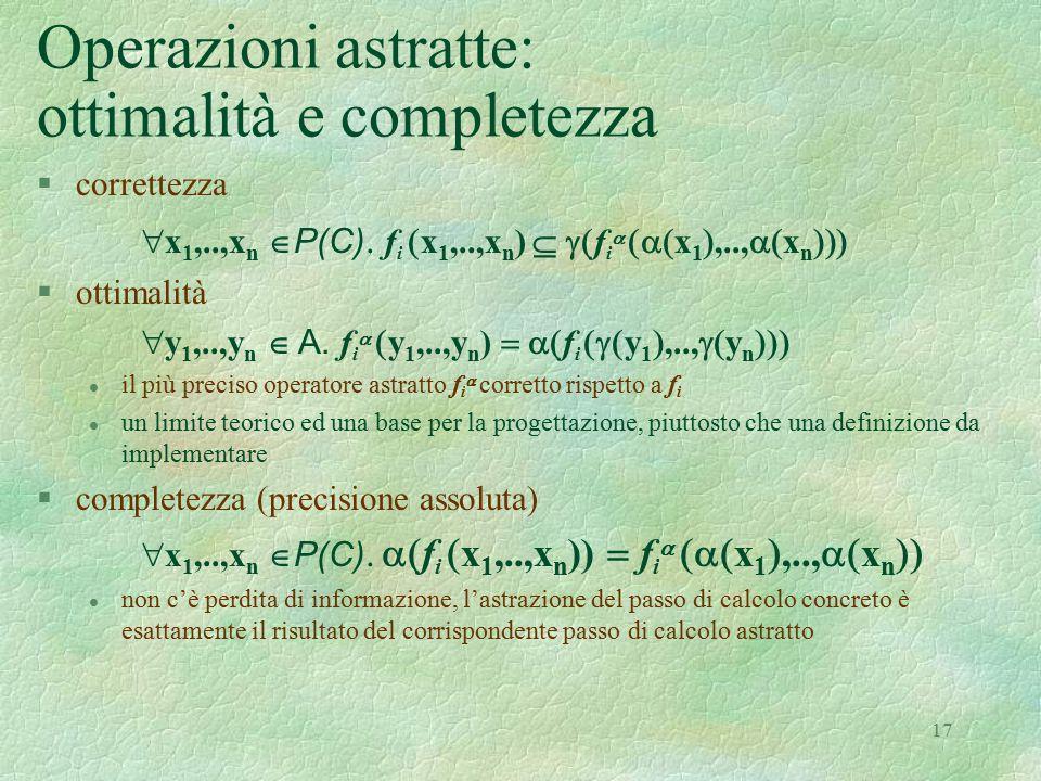 17 Operazioni astratte: ottimalità e completezza §correttezza  x 1,..,x n  P(C)  f i  x 1,..,x n )  f i   x 1 ,..,  x n  §ottimali