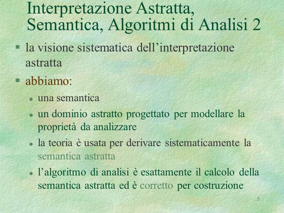 5 Interpretazione Astratta, Semantica, Algoritmi di Analisi 2 §la visione sistematica dell'interpretazione astratta §abbiamo: l una semantica l un dom
