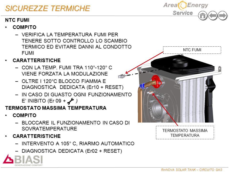 RinNOVA SOLAR TANK – CIRCUITO GAS Service SICUREZZE TERMICHE NTC FUMI COMPITOCOMPITO –VERIFICA LA TEMPERATURA FUMI PER TENERE SOTTO CONTROLLO LO SCAMBIO TERMICO ED EVITARE DANNI AL CONDOTTO FUMI CARATTERISTICHECARATTERISTICHE –CON LA TEMP.