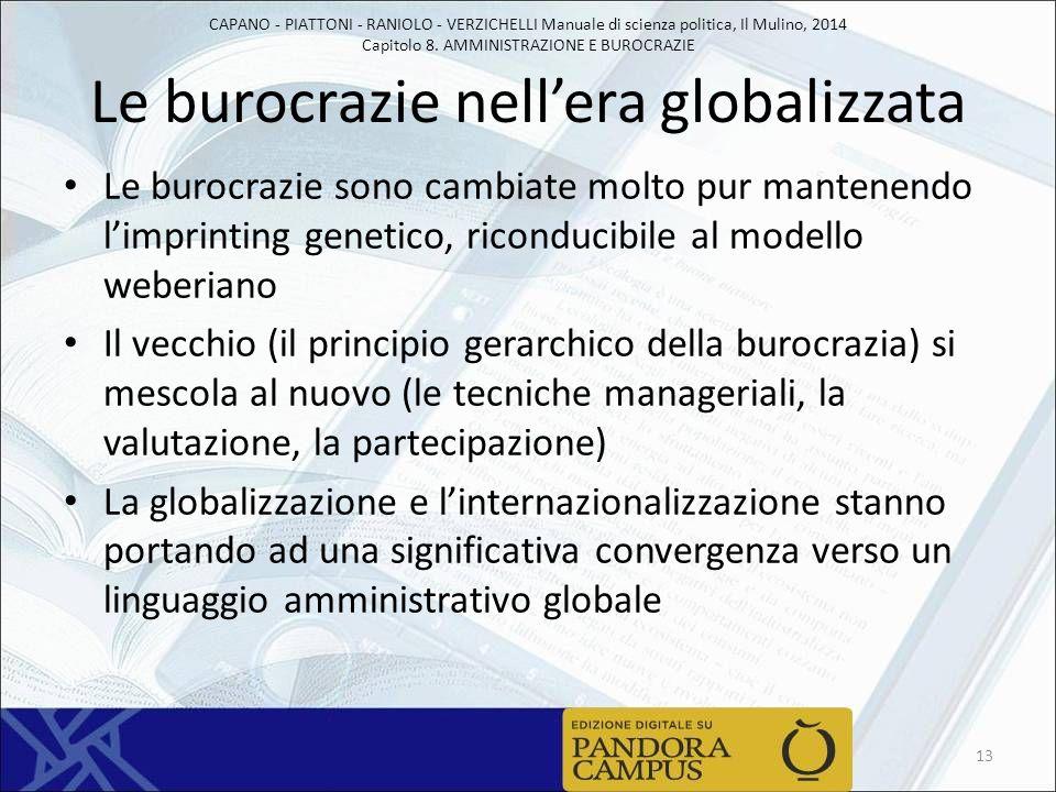 CAPANO - PIATTONI - RANIOLO - VERZICHELLI Manuale di scienza politica, Il Mulino, 2014 Capitolo 8. AMMINISTRAZIONE E BUROCRAZIE Le burocrazie nell'era