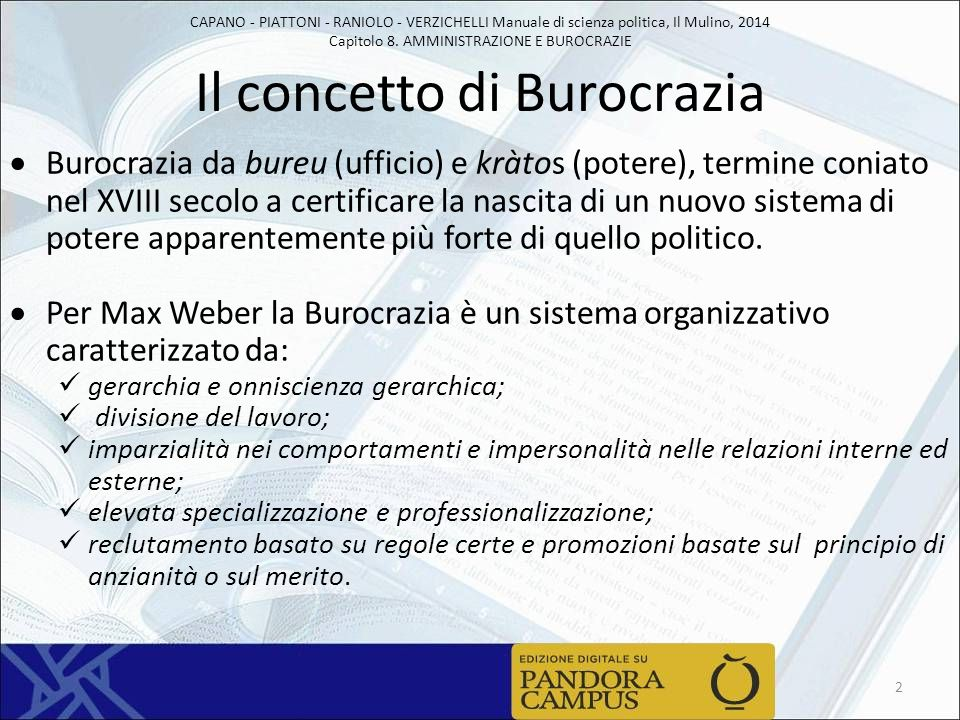 CAPANO - PIATTONI - RANIOLO - VERZICHELLI Manuale di scienza politica, Il Mulino, 2014 Capitolo 8. AMMINISTRAZIONE E BUROCRAZIE Il concetto di Burocra