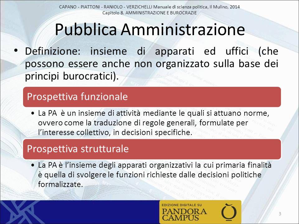 CAPANO - PIATTONI - RANIOLO - VERZICHELLI Manuale di scienza politica, Il Mulino, 2014 Capitolo 8. AMMINISTRAZIONE E BUROCRAZIE Pubblica Amministrazio