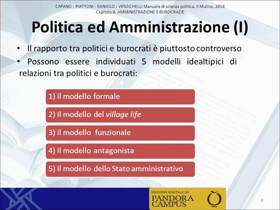 CAPANO - PIATTONI - RANIOLO - VERZICHELLI Manuale di scienza politica, Il Mulino, 2014 Capitolo 8. AMMINISTRAZIONE E BUROCRAZIE Politica ed Amministra