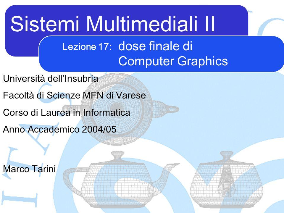 Sistemi Multimediali II Marco Tarini Università dell'Insubria Facoltà di Scienze MFN di Varese Corso di Laurea in Informatica Anno Accademico 2004/05 Lezione 17: dose finale di Computer Graphics