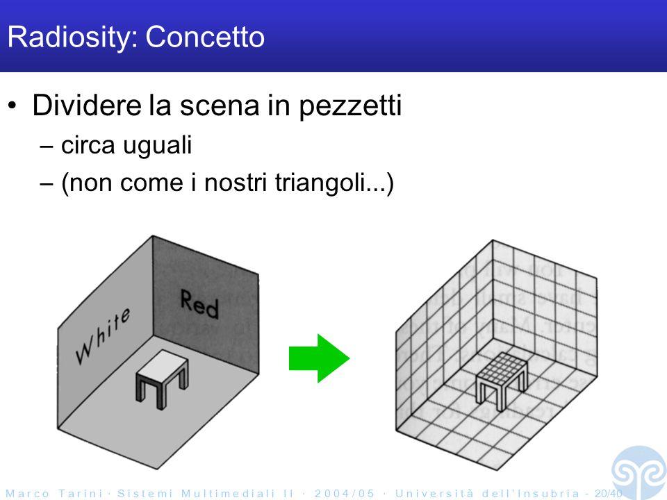 M a r c o T a r i n i ‧ S i s t e m i M u l t i m e d i a l i I I ‧ 2 0 0 4 / 0 5 ‧ U n i v e r s i t à d e l l ' I n s u b r i a - 20/40 Radiosity: Concetto Dividere la scena in pezzetti –circa uguali –(non come i nostri triangoli...)