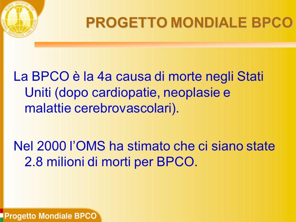 PROGETTO MONDIALE BPCO La BPCO è la 4a causa di morte negli Stati Uniti (dopo cardiopatie, neoplasie e malattie cerebrovascolari).